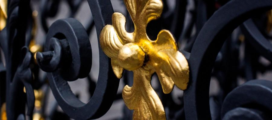Zaun Tor blattvergoldet